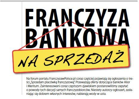 Franczyza bankowa na sprzedaż
